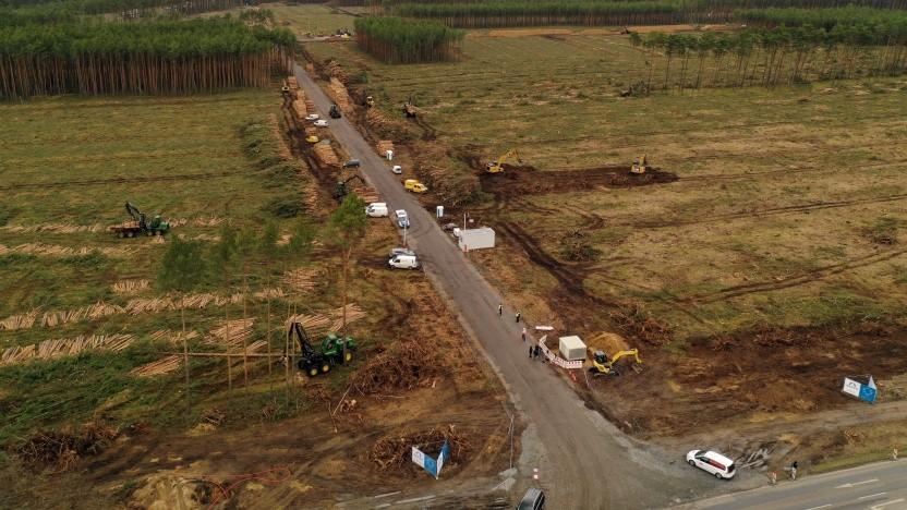 Nach einem vorübergehenden Rodungsstopp sind auf dem Tesla-Gelände die meisten Bäume gefällt worden.