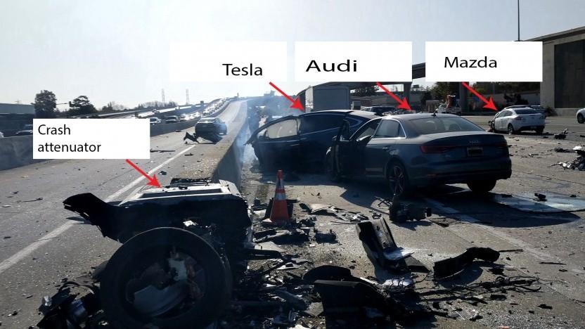 Der Unfallort auf dem Highway 101 im Silicon Valley