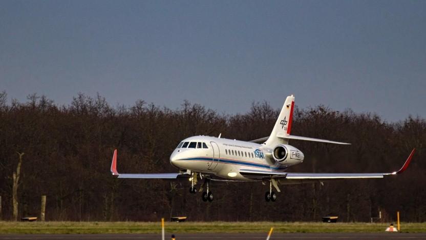 Forschungsflugzeug Istar landet in Braunschweig (am 31. Januar 2020): die nächste Generation von Flugzeugen vorwegnehmen