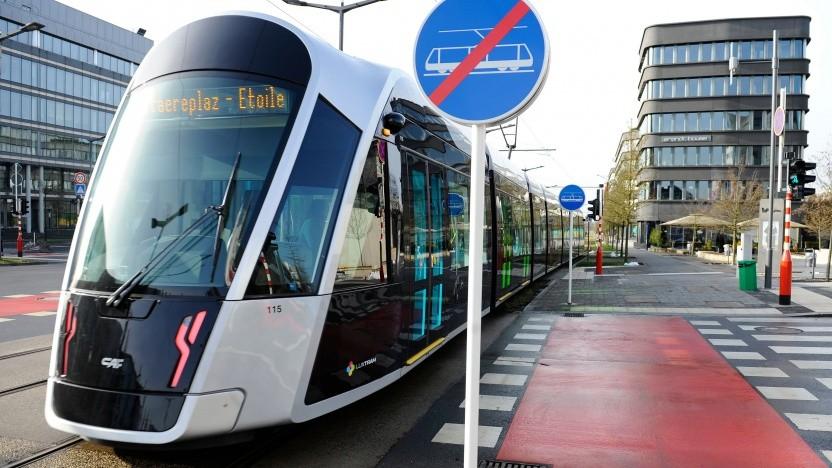 Straßenbahn am 29. Februar 2020 in Luxemburg