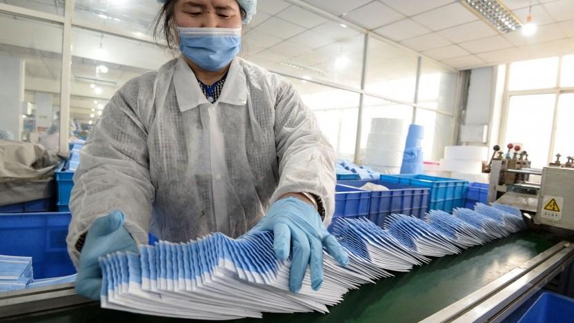Wie hier in China sollen bei Sharp in Japan Gesichtsschutzmasken hergestellt werden.