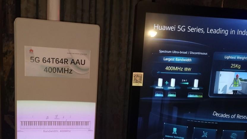 5G-Antenne von Huawei, gezeigt im Februar 2020 in London