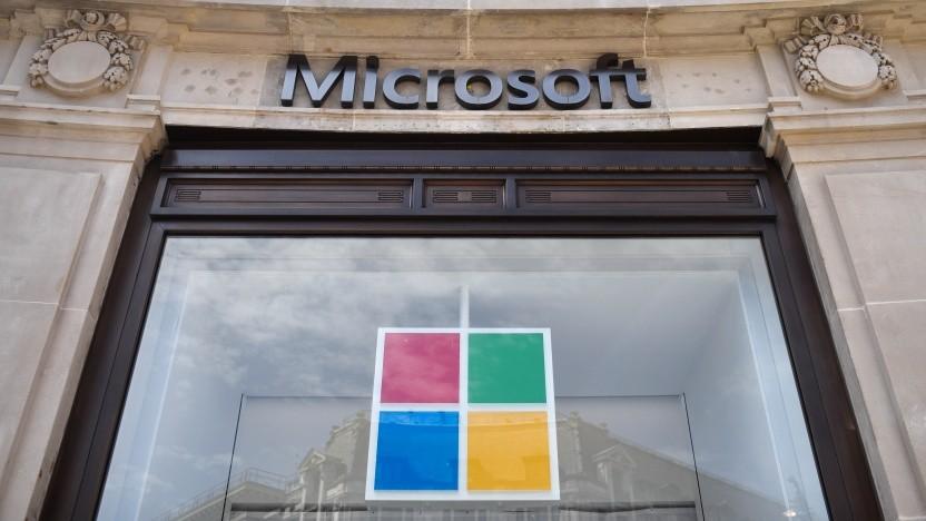 Der Eingang eines Microsoft Stores in London