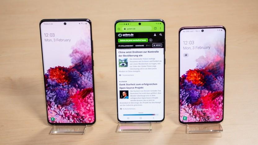 Die drei Modelle des Galaxy S20 nebeneinander