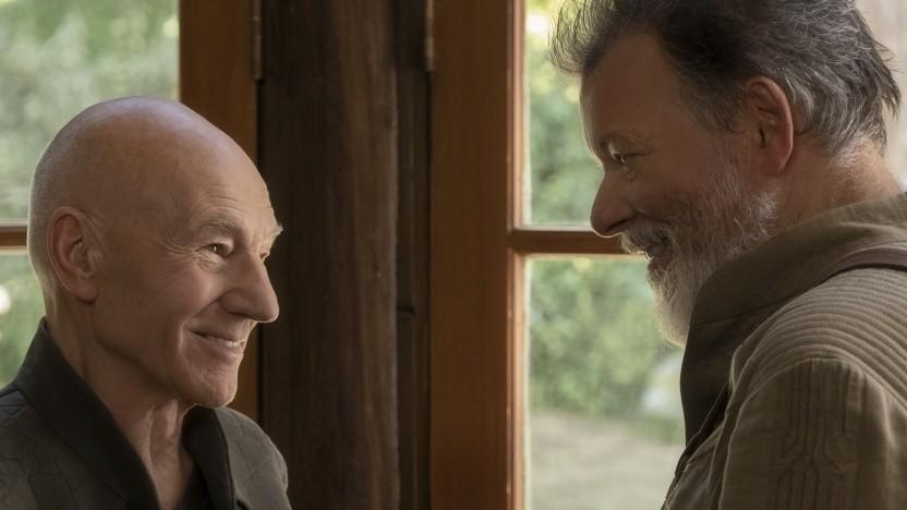 Patrick Stewart als Jean-Luc Picard und Jonathan Frakes als William Riker