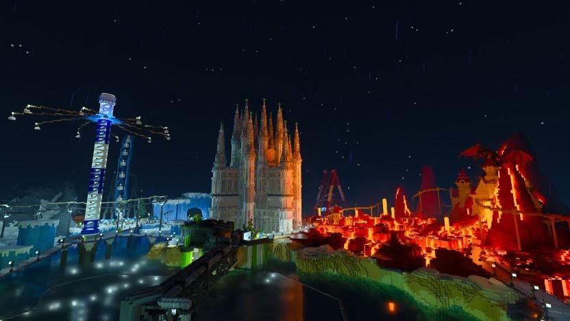 Szene aus Minecraft RTX mit globaler Beleuchtung
