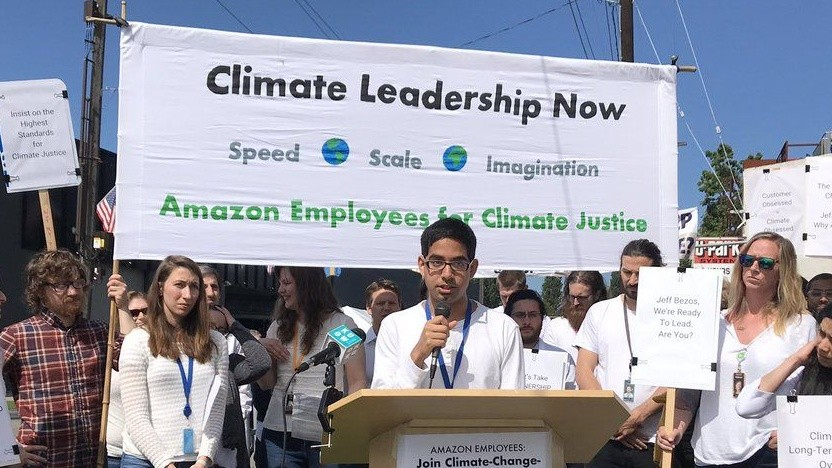 Aktion von Amazon Employees for Climate Justice