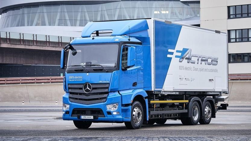 Elektro-Lkw Mercedes eActros: Brennstoffzellen sind für Lkw eine entscheidende Lösung.