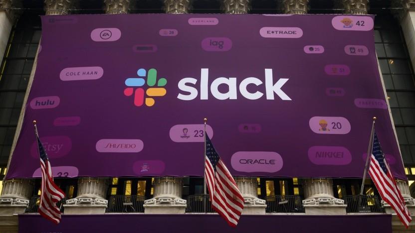 Ein Bild von Slacks Börsengang im Juni 2019