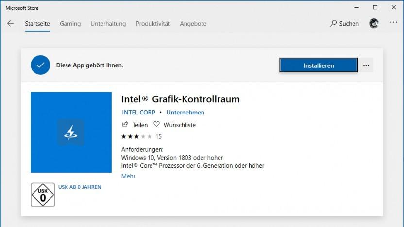 Intels Control-Panel im Store