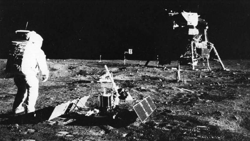 Die Apollo-11-Astronauten waren die ersten Menschen auf dem Mond.