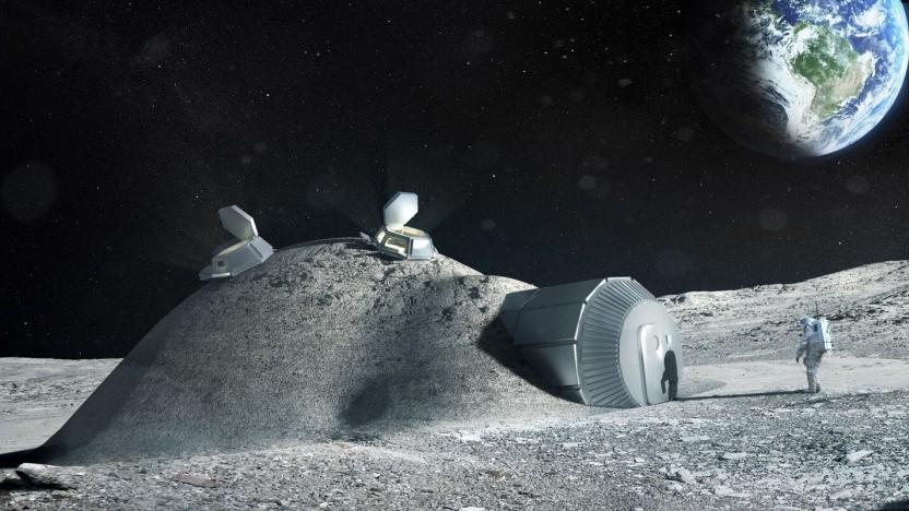 Künstlerische Darstellung einer künftig Mondbasis: Nutzung von vor Ort verfügbaren Ressourcen