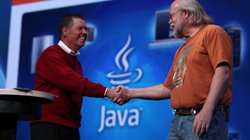Zwei der wichtigsten Jubilare (hier im Jahr 2009): Scott McNealy (li.), der Gründer von Sun Microsystems, und James Gosling, der als der Erfinder von Java gilt.