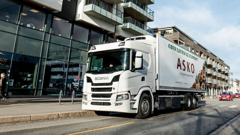 Elektro-Lkw von Scania: Die Asko-Flotte soll bis 2026 emissionsfrei sein.
