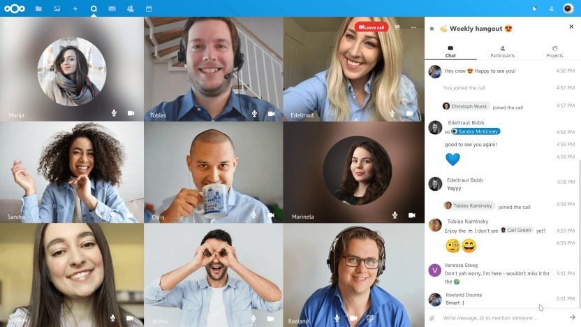 Nextcloud Talk 9 bietet eine neue Kachelansicht für Videokonferenzen.
