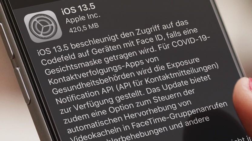 IOS 13.5 wird zum Download angeboten.