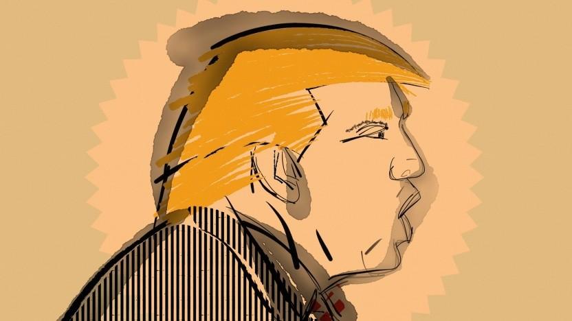 Zeichnung von US-Präsident Donald Trump.