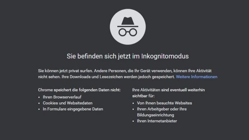 Keine Illusion von Privatsphäre: Startseite des Inkognito-Modus bei Chrome