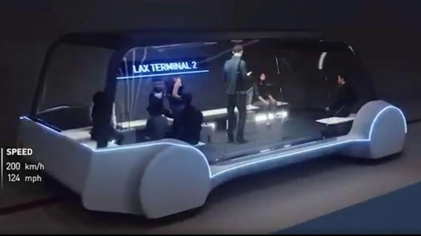 Ein früheres Konzept eines Minibusses, der in Tunneln der Boring Company fährt.