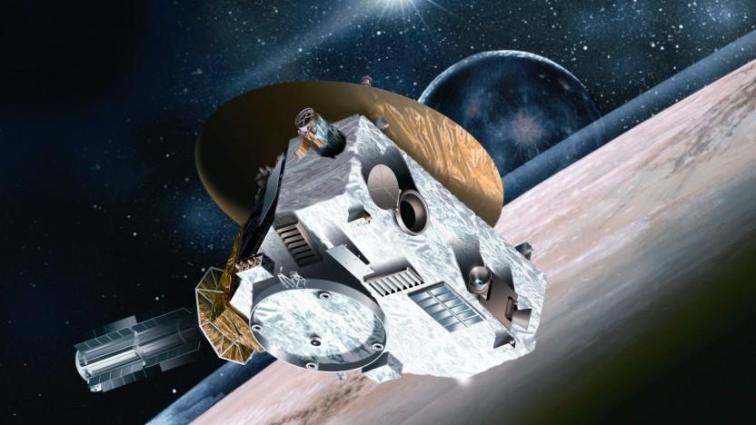 Künstlerische Darstellung von New Horizons: die größte bisherige Parallaxen-Basislinie