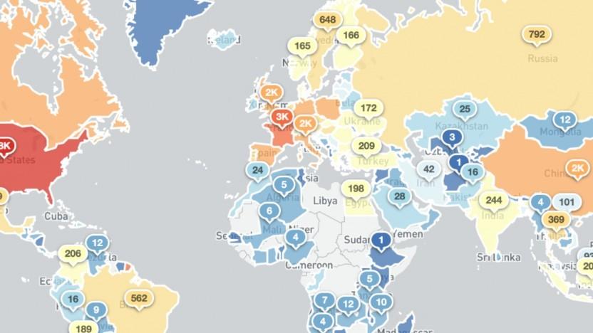 Shadowserver hat die betroffenen Nationen in einer Übersichtskarte markiert.