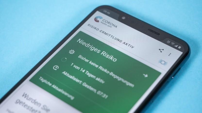 Die Corona-Warn-App auf einem Android-Smartphone