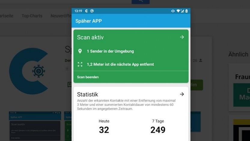 Die Späher-App misst auch den Abstand zu anderen Geräten.