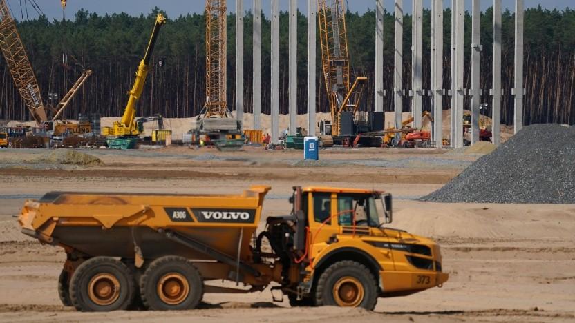 Baustelle der Gigafactory in Grünheide: kein Vordringen ins Grundwasser