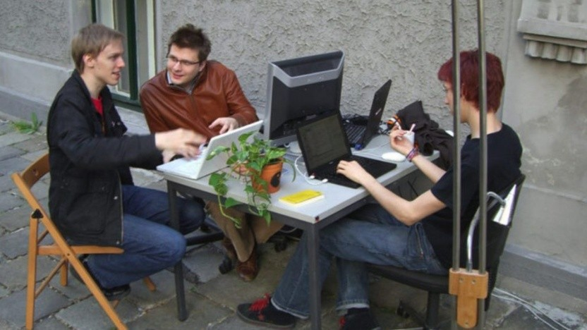 Das Soup.io-Team mit Christopher Clay (l.)