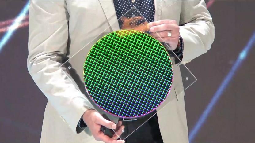 Ein Wafer mit 10-nm-Ice-Lake-Chips