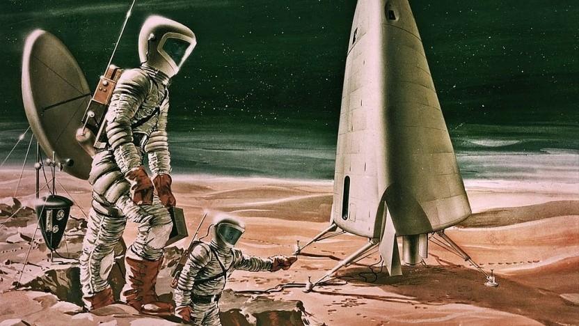 Künstlerische Darstellung einer Marslandung aus dem Jahr 1964