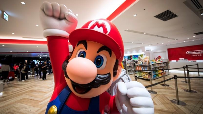 Mario bei der Eröffnung eines Nintendo Store in Tokio