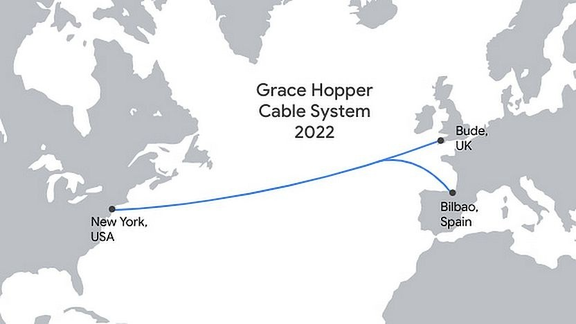 Der Weg des neuen privaten Seekabels Grace Hopper