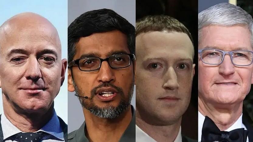 Die Chefs der Tech-Konzerne waren in der Videokonferenz.