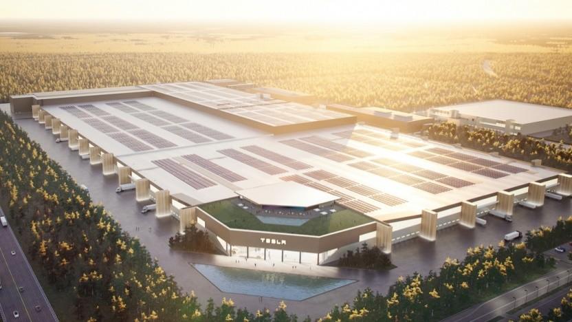 Die geplante Fabrik von Tesla in Grünheide
