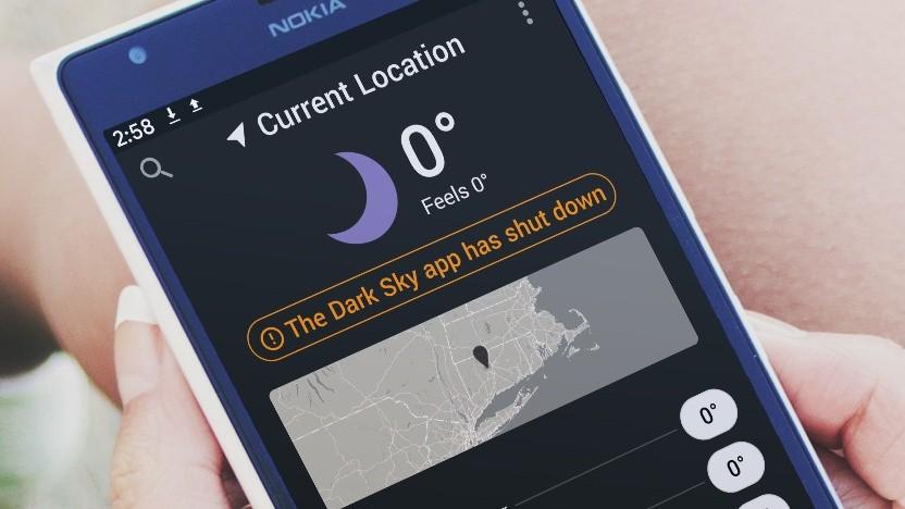 Die Android-App von Dark Sky geht nicht mehr.