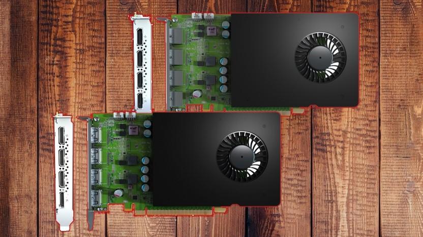 Die D1480 (oben) hat vier Displayport-Buchsen, die D1450 hat vier HDMI-Ports.