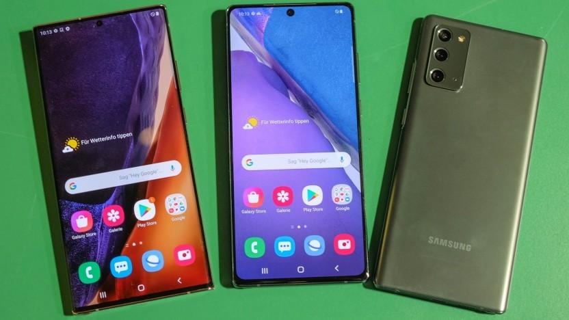 Links das Galaxy Note 20 Ultra, daneben zweimal das Galaxy Note 20