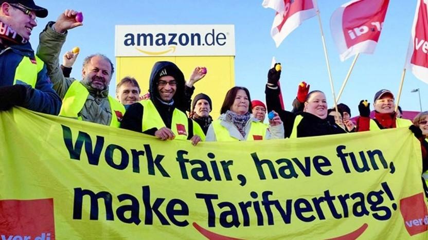 Amazon-Arbeiter fordern  einen Tarifvertrag.