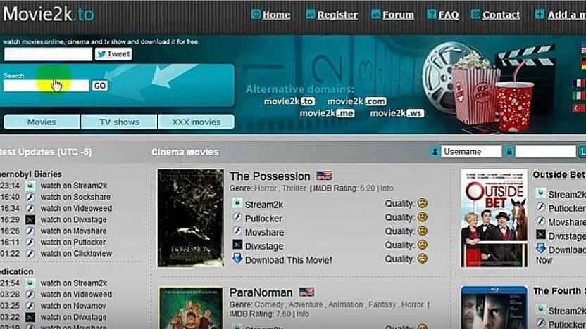 Die Plattform Movie2k im Jahr 2012