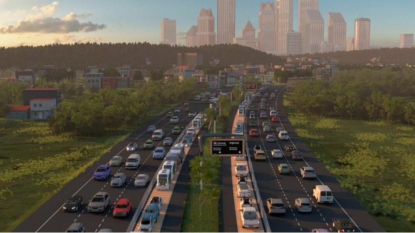 Künstlerische Darstellung der Spur für autonome Autos