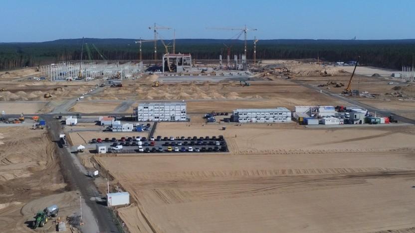 Der Bau der Tesla-Fabrik in Grünheide macht schnelle Fortschritte.