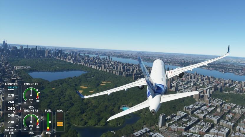 Airbus A320neo im Flug über Manhattan