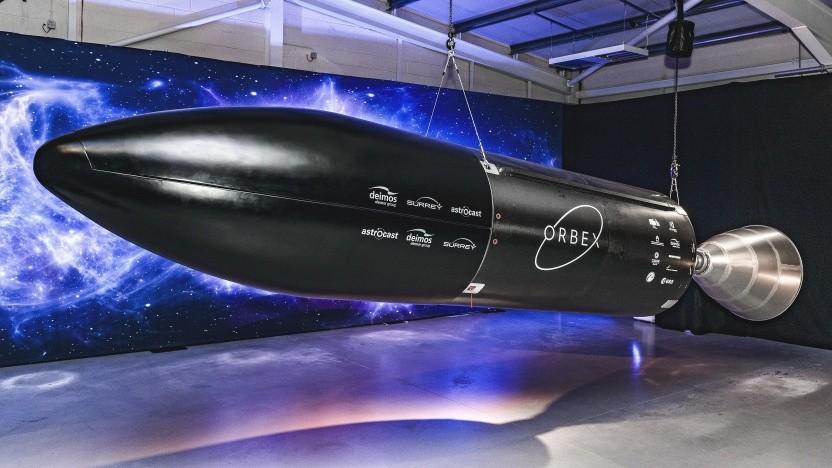 Modell einer Oberstufe der Orbex Prime, die von Schottland aus fliegen soll.