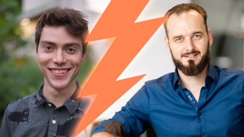 """Im Gespräch: der """"Artistic Coder"""" Alexander Dubovoy (li.) und der """"Pragmatic Coder"""" Dominik Seemann"""