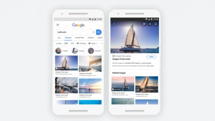Die Bildersuche von Google hebt nun lizenzierbare Inhalte hervor.