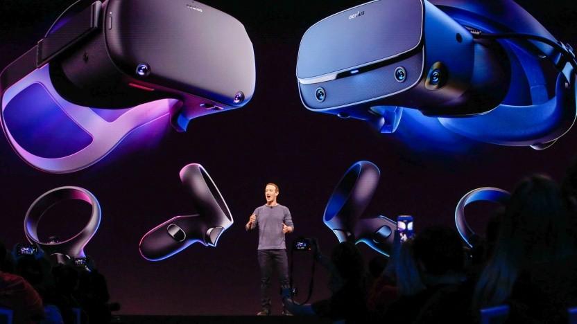 Mark Zuckerberg bei der Präsentation von Oculus Quest im April 2019