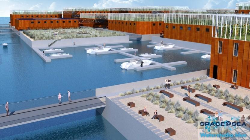 So könnten die schwimmenden Plattformen einmal auf dem Meer aussehen.