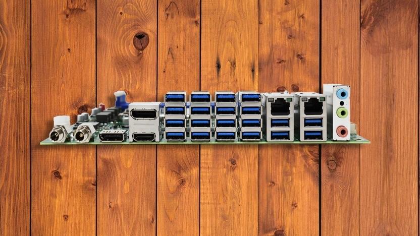 Das Mainboard mit 20 USB-Anschlüssen hat auch zwei Ethernet-Ports.