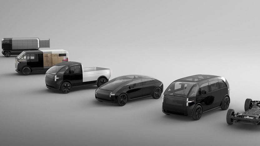 Renderings der Canoo-Fahrzeuge: Kleinbus, Lieferfahrzeuge, Sportwagen